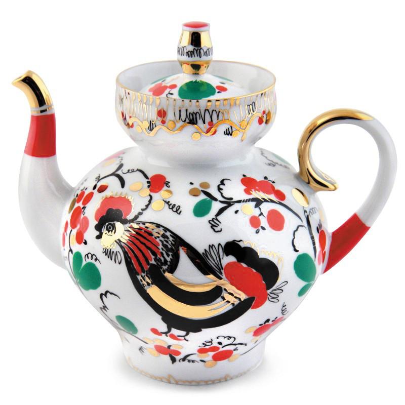 Чайник заварочный Петушки. Императорский фарфор, Санкт-Петербург