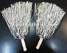 Помпоны для чирлидинга маленькие (серебряные)