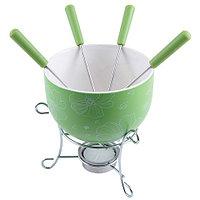 6307 FISSMAN Набор для приготовления шоколадного фондю MINI 6 пр. (керамика зеленая)