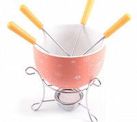 6308 FISSMAN Набор для приготовления шоколадного фондю MINI 6 пр. (керамика оранжевая)