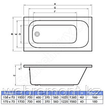 Акриловая ванна Salsa 170x70   (Ванна + ножки), фото 3