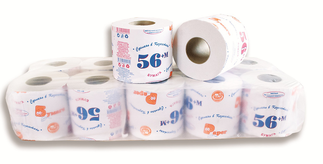 Туалетная бумага «56 +М» однослойная, с перфорацией, 10 рул/уп