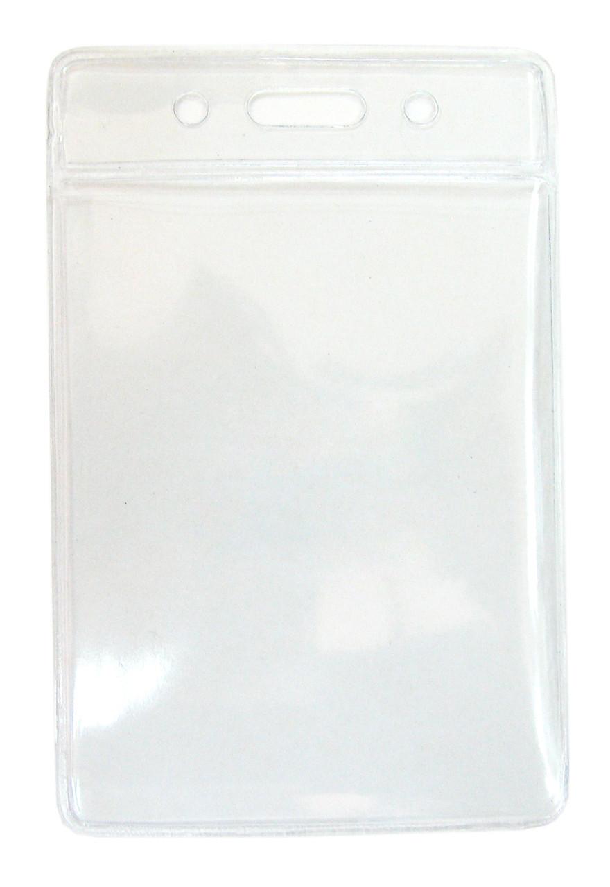 Бейдж вертикальный, 105x65мм, 0.25микр, без зажима, прозрачный Bindermax