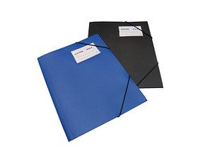 Папка с резинкой А4, 0,50мм, с визиткой, синяя, пластик Bindermax