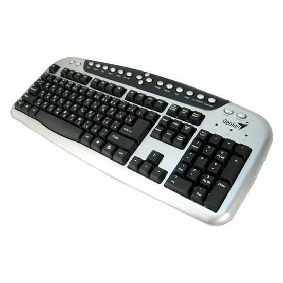 Клавиатура, Genius, KB-20e, Мультимедийная, USB, Анг/Рус/Каз, Серебристо-Чёрный