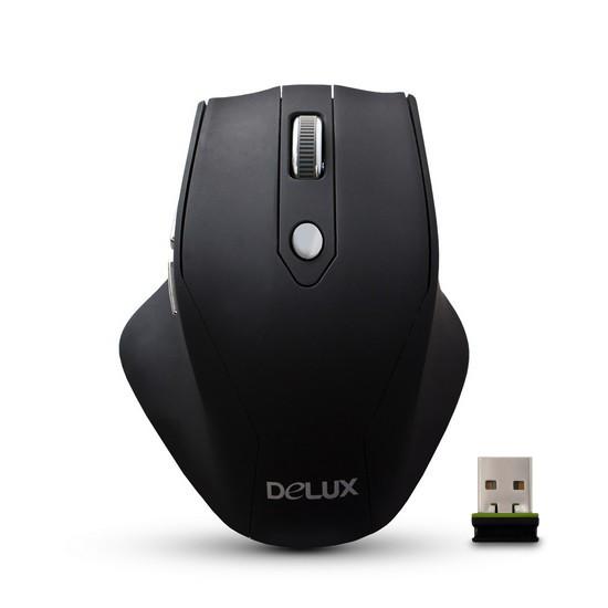 Мышь, Delux, DLM-530OGB, 5D, Оптическая. 1000-1500dpi, Беcпроводная 2.4ГГц, 2 Дополнительные кнопки,