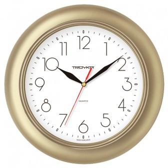 Часы d=300мм, круглые, золот. пластиковый корпус,  пласт. стекло Часпром