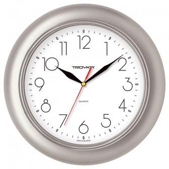 Часы d=300мм, круглые, серебристый пластиковый корпус,  пласт. стекло Часпром