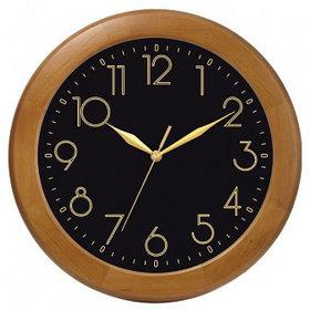 Часы d=300мм, круглые, черные, деревянный корпус, минеральное стекло Часпром