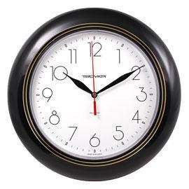 Часы d=300мм, круглые, черный пластиковый корпус,  пласт. стекло Часпром
