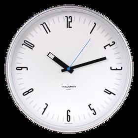 Часы d=305мм, круглые, белые, серебристый корпус, минеральное стекло Часпром