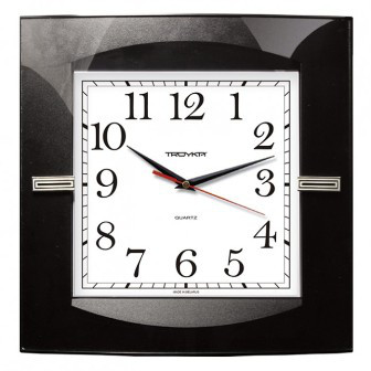 Часы d=320х320мм, квадратные, черные, минеральное стекло Часпром