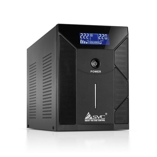 UPS, SVC, V-2000-F-LCD, Smart, USB, Диапазон работы AVR: 175-275В, Бат.: 12В/9 Ач*2шт., 4 вых.: Shuk