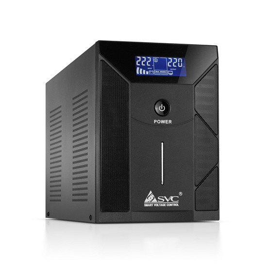 UPS, SVC, V-3000-F-LCD, Smart, USB, Диапазон работы AVR: 175-275В, Бат.: 12В/7,5 Ач*4шт., 4 вых: Shu