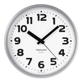 Часы d=230мм, круглые, белые, серебристый корпус, пластиковое стекло Часпром