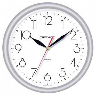 Часы d=245мм, круглые, белые, серебристый корпус, пластиковое стекло Часпром