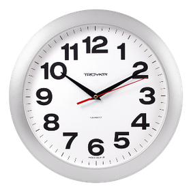 Часы d=290мм, круглые, белые, серебристый корпус, минеральное стекло Часпром