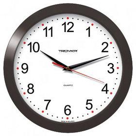 Часы d=290мм, круглые, белые, черный корпус, минеральное стекло Часпром
