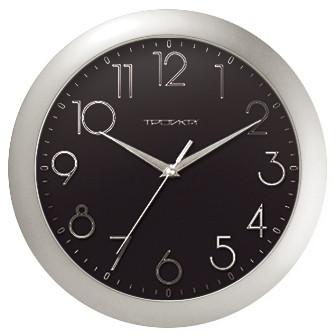 Часы d=290мм, круглые, черные, серебристый корпус, минеральное стекло Часпром