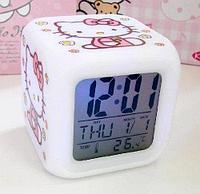 """Часы будильник """"Kitty"""" 7 цветов подсветки, фото 1"""