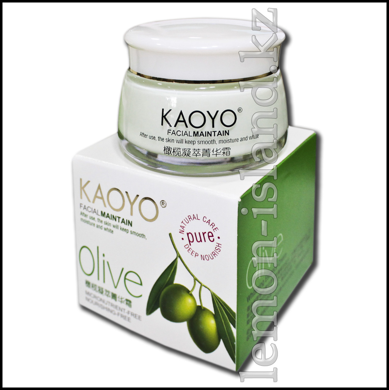 Крем для лица Kaoyo увлажняющий с экстрактом оливы.