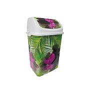 """Ведро для мусора """"Камелия"""" №3 декор """"Орхидея"""" 18 л с качающейся крышкой"""