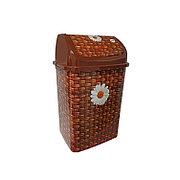 """Ведро для мусора """"Камелия"""" №3 декор """"Плетенка"""" 18 л с качающейся крышкой"""