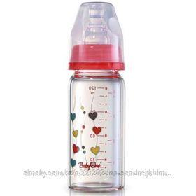 Стеклянная бутылочка 120мл.+ нагрудник