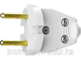 Вилка СИБИН электрическая, разборная, 6А/220В, белая