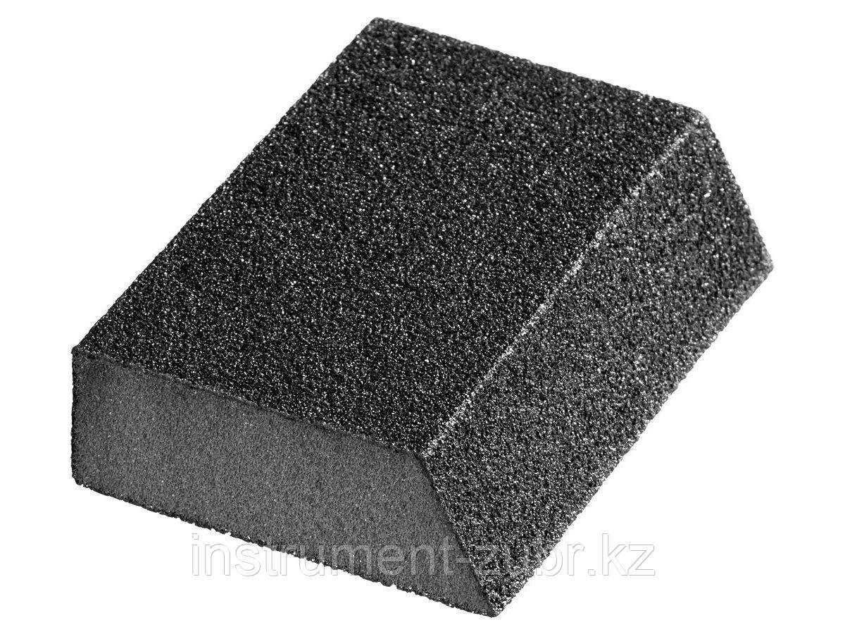 """Губка шлифовальная STAYER """"MASTER"""" угловая, зерно - оксид алюминия, Р180, 100 x 68 x 42 x 26 мм, средняя жесткость"""