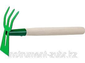 """Мотыга-рыхлитель, РОСТОК 39627, с деревянной ручкой, """"лопатка+3 зуба"""" гнутая, 145x75x390мм"""