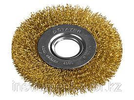 """STAYER """"PROFESSIONAL"""". Щетка дисковая для УШМ, витая стальная латунированная проволока 0,3мм, 100ммх22мм"""