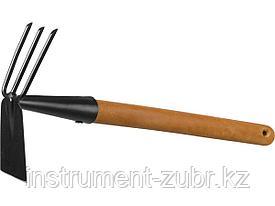 """Мотыга-рыхлитель """"PROLine"""", лопатка+3 зуба с деревянной ручкой, GRINDA 421517, 113х100х575мм"""