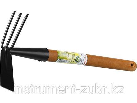 """Мотыга-рыхлитель """"PROLine"""", лопатка+3 зуба с деревянной ручкой, GRINDA 421517, 113х100х575мм, фото 2"""