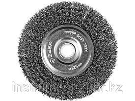 """ЗУБР """"ПРОФЕССИОНАЛ"""". Щетка дисковая для точильно-шлифовального станка, витая стальная проволока 0,3мм, 125х12,7мм"""