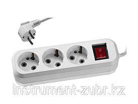 Удлинитель СИБИН электрический, ПВС сечение 0,75кв мм, 3 гнезда, макс мощн 2200Вт, 3м, заземление, выключатель