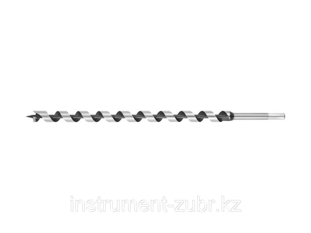 Сверло по дереву, спираль Левиса, HEX хвостовик, URAGAN 29465-450-20, d=20х450мм