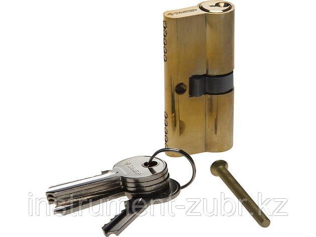 "Механизм ЗУБР ""МАСТЕР"" цилиндровый, тип ""ключ-ключ"", цвет латунь, 5-PIN, 60мм                                                                         , фото 2"