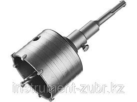 Буровая коронка с твердосплавными резцами DEXX 29215-80, в сборе, SDS-plus хвостовик, d=80 мм