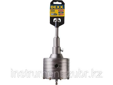 Буровая коронка с твердосплавными резцами DEXX 29215-80, в сборе, SDS-plus хвостовик, d=80 мм, фото 2
