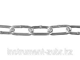 Цепь длиннозвенная, DIN 763, оцинкованная сталь, d=4мм, L=70м, ЗУБР Профессионал
