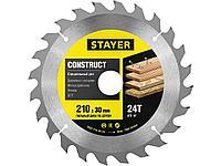 """Пильный диск """"Construct line"""" для древесины с гвоздями, 210x30, 24Т, STAYER"""