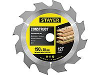 """Пильный диск """"Construct line"""" для древесины с гвоздями, 190x20, 12Т, STAYER"""