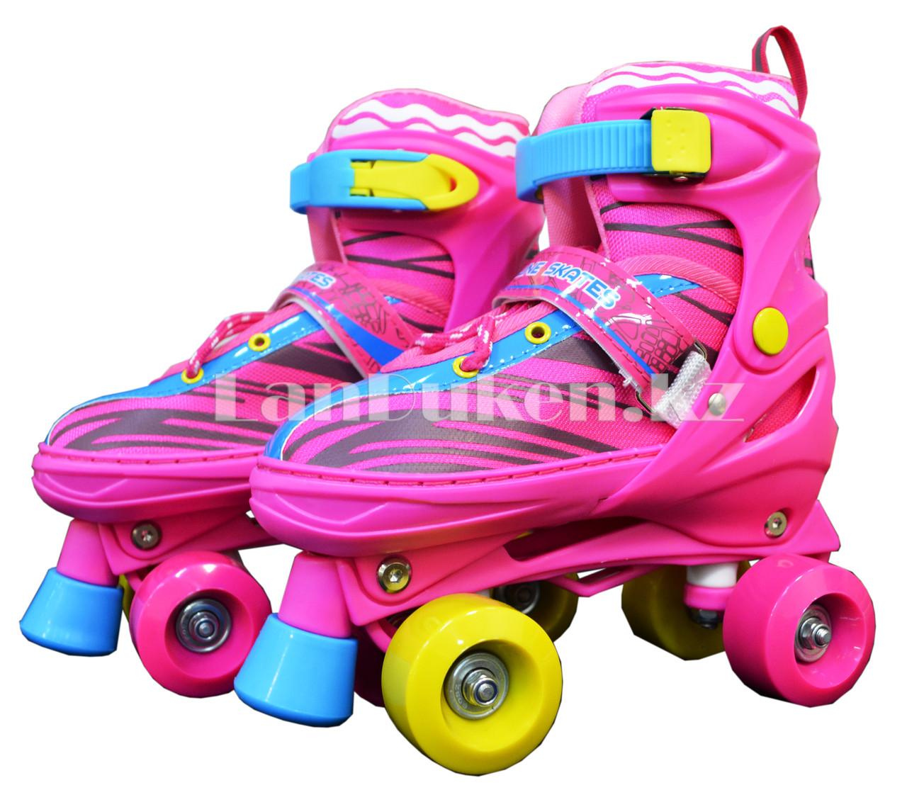 Ролики квады 4-х колесные раздвижные с прошивкой розовые - фото 1