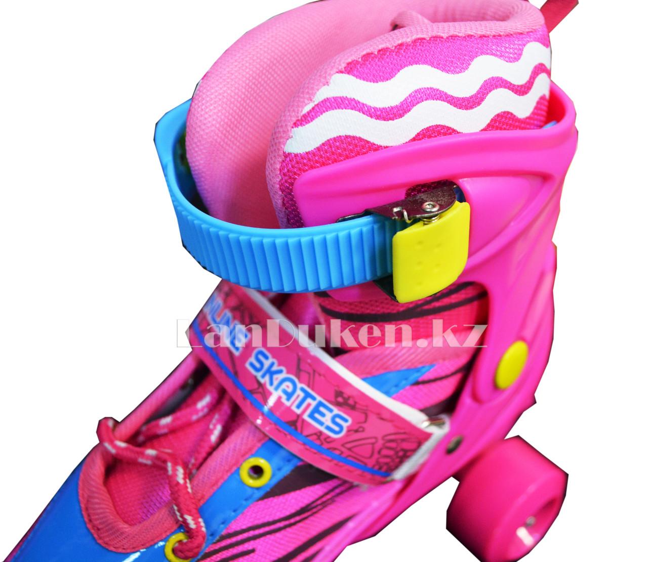 Ролики квады 4-х колесные раздвижные с прошивкой розовые - фото 2
