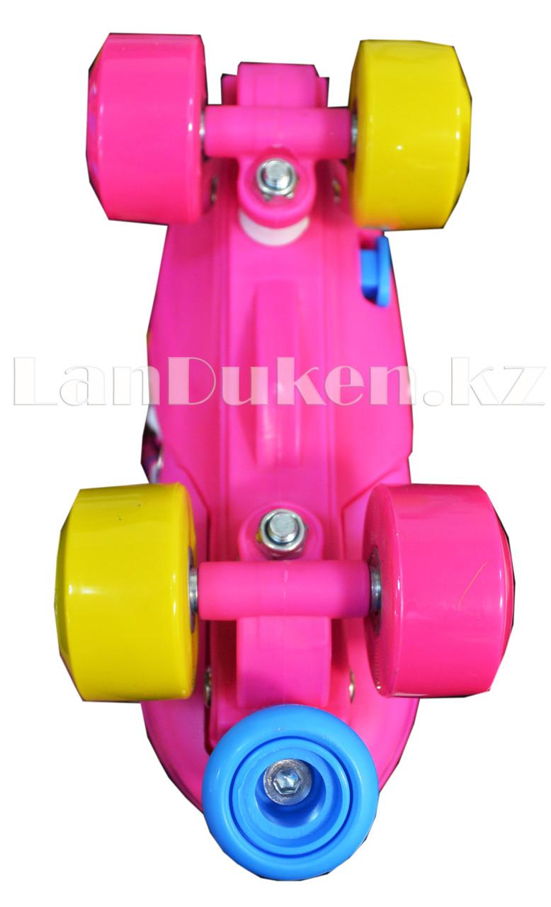Ролики квады 4-х колесные раздвижные с прошивкой розовые - фото 3