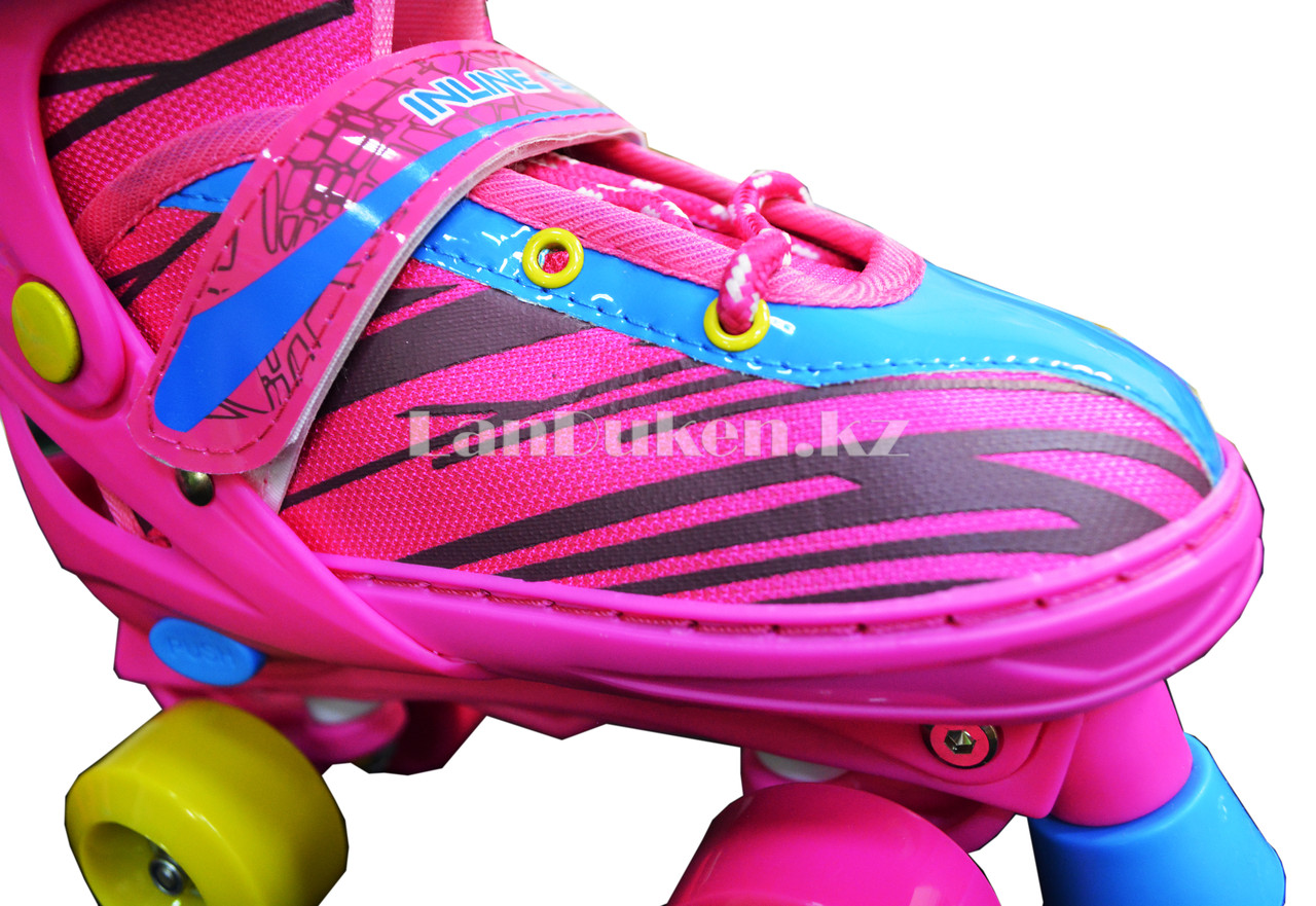 Ролики квады 4-х колесные раздвижные с прошивкой розовые - фото 4