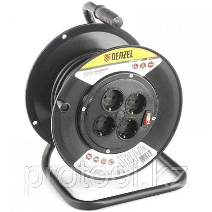 Удлинитель силовой на кабельной катушке, 25м, 4 розетки, 16А, серия УХз16 DENZEL, фото 2