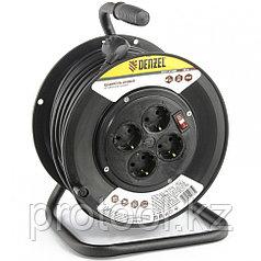 Удлинитель силовой на кабельной катушке, 50м, 4 розетки, 16А, серия УХз16 DENZEL