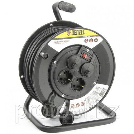 Удлинитель силовой на кабельной катушке, 50м, 4 розетки с крышкой, IP44, 16А, серия УХз16 DENZEL, фото 2